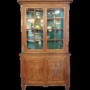 SOLD French Provincial Louis XVI Oak Glazed Door Step-Back Cupboard