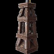 Antique Indian Folk Art Teak Architectural Element as a Table Lamp