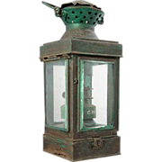 Anglo Indian Painted Toleware Oil Lamp Lantern