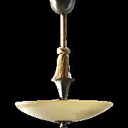 Swedish Art Deco Bronze Mounted Glass Ceiling Light/Plafonnier