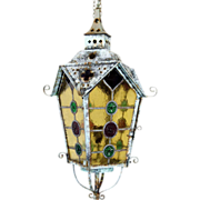 French Leaded and Stained Glass Brass Hanging Lantern