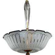 SOLD Swedish Orrefors Frosted Glass Bowl Hanging Pendant Light