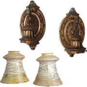 SOLD Pair American Signed Quezal Glass One-Light Pendant Wall Sconces