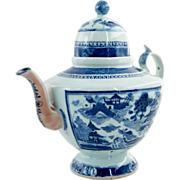 Chinese Export Canton Blue and White Porcelain Teapot