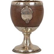English George III Sterling Silver Mounted Coconut Cup / Goblet