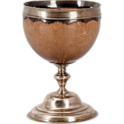 English George III Sterling Silver Mounted Coconut Goblet / Cup