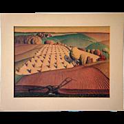 SOLD Original GRANT WOOD Gelatone Print, Fall Plowing