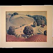 SOLD Original  GRANT WOOD Gelatone Print, Young Corn