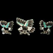 Native American Zuni Eagle Inlaid Silver Cufflinks and Bolo
