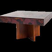 German Hohnert Design Brass Mounted Walnut Square Coffee Table