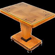 Swedish Art Deco Modern Elm and Birch Pedestal Side Table