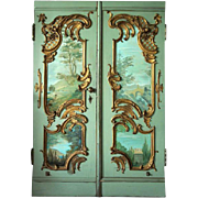 Pair of French Louis XV Style Painted Double Door with Baroque style Back Decoration