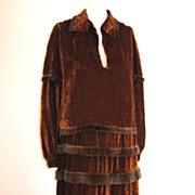 Amazing Art Deco 1920s Silk Velvet & Ermin Ruffled Dress & Over Blouse