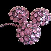 Fabulous Hattie Carnegie Demi Parure Bright Pink Rhinestones Floral
