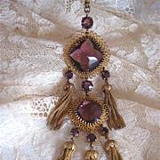 Amazing!! 1960s Christian Dior Pendant Necklace Amethyst Glass Tassels Huge!!