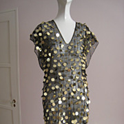 Fabulous! Vintage 1970s Over Dress Black Net With Giant Gold Pallets