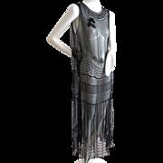 Fabulous! 1920s Art Deco Beaded Over Dress French Net Petal Skirt