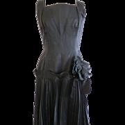 Fabulous! Late 1940s MOLLIE PARNIS Sexy Black Silk Cocktail Dress Softest Silk