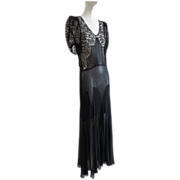 Vtg 1930s Black Silk Chiffon & Lace Column Gown With Under Dress