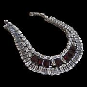 Schreiner New York Necklace Rich Red & Steely Clear Rhinestones