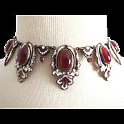 The Best Art Deco Czech Necklace Large Stones + Enamel