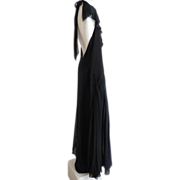 Chanel Gown Layers of Black Navy Silk Chiffon Tie Back Low