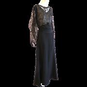 So Elegant!! 1930s Art Deco Gold Lame Lace Crepe Column Gown Wow!!