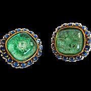 Dominque Aurientis Paris Earrings Clip Ons Foiled Glass Cabs
