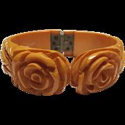 Carved Bakelite Clamper Bracelet Roses Leaves Golden Yellow All Original