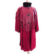 Stunning Collector's YVES ST. LAURENT Leather Fringe Coat France RED!!