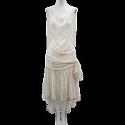 Vtg Art Deco 1920s Silk Chiffon Flapper Dress Gold Dots Big Bow