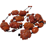 Antique Chinese Hand Carved Lohan Genuine Honey Amber Prayer Beads Ca 1880 Faces