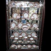 GDA Limoges France Porcelain Set 105 Pieces H/Painted Raised Gilt Rose Garlands Claret Color