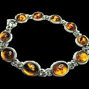 10 Amber Cabochon & Sterling Silver Link Bracelet - 10mm x 9mm Stones