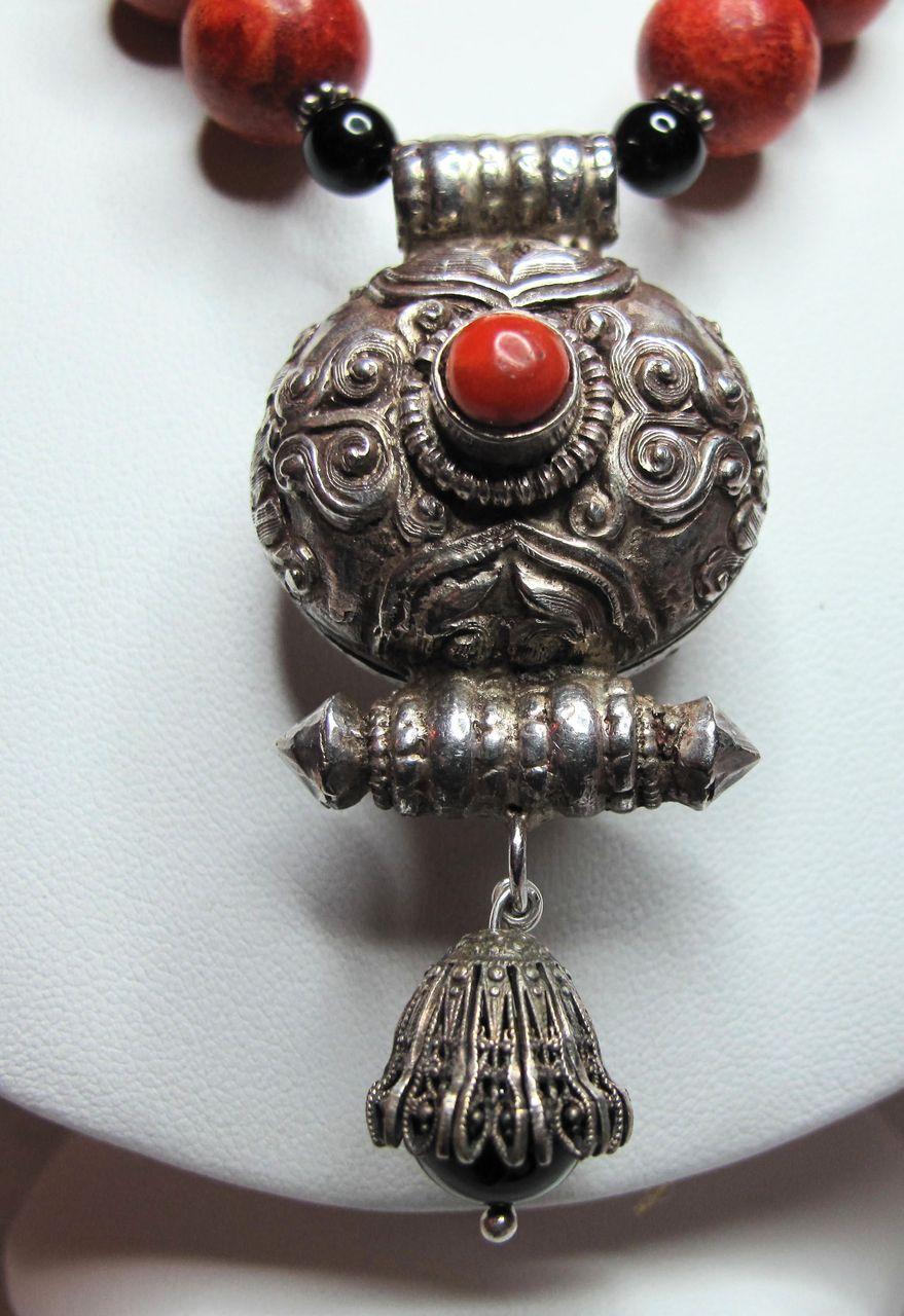 Antique Tibetan Sterling Silver Amp Coral Gau Pendant