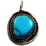 Vintage Sterling & Turquoise Handcrafted Gemstone Pendant