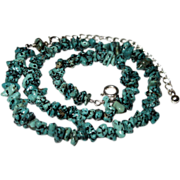 Blue - Green Seafoam Turquoise & Sterling Silver Necklace