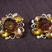 Vintage Beau Jewels Clip Earrings, Five Topaz-Colored Stones