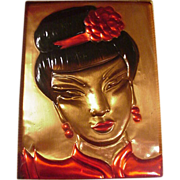 SALE Fabulous California Copper Plaque of Chinese Girl, Wanda Irwin Original, 1948