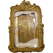 Early Bronze Frame, Solid Back, Rocaille Scrolling, Heavy Beveled Glass