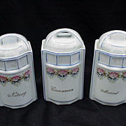 Three German Porcelain Spice Containers, Cinnamon, Nutmeg, Mustard