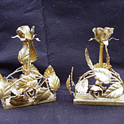 SALE Pair of Gold-Painted Florentine Candlesticks, Italy, Roses and Leaves