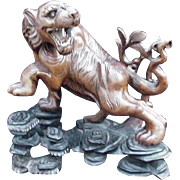 SALE Vintage Chinese Wood Carving, Snarling Tiger