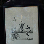 SALE Lake Erie Mallards, Reproduction of 1938 Etching by Richard Bishop