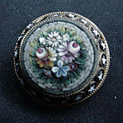 19th C. Micro Mosaic Pin, Floral Center with Star Border