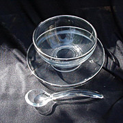 Vintage Glass Mayonnaise Set, Platinum Rim