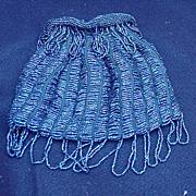 SALE Vintage Drawstring Handbag Covered with Tiny Blue Beads