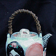 Early 20th C. Japanese Porcelain Teapot, Twig Handle