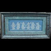 SALE Framed Wedgwood Blue Jasperware Dancing Hours Plaque, Six Dancing Figures