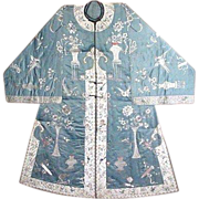 Fabulous Embroidered Chinese Silk Coat, Birds, Vases, Trees, Flowers